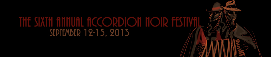 banner for Accordion Noir Festival, with cool poster graphic of two-headed accordionist