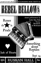 Rebel Bellows Cabaret & Dinner, Sat, Sept 14